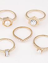 Women's Alloy Ring Imitation Pearl Exquisite Fashion Unique Rings Set(5 Pieces)