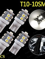 4 X Super White T10 10-SMD LED Car Interior Light Bulbs 168 194 2825 921 161 912