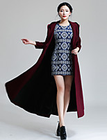Women's Solid Red Coat , Vintage / Sexy / Casual / Party / Work / Plus Sizes Long Sleeve Wool / Cashmere / Fur F9913