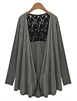 Women's Solid Black / Gray Cardigan , Casual Long Sleeve