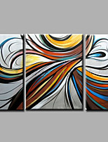 Ready to Hang Stretched Hand-Painted Oil Painting on Canvas Wall Art Contempory Abstract Blue Grey Three Panel