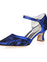 Women's Wedding Shoes Square Toe Heels Wedding / Party & Evening Black / Blue / Pink / Ivory / White