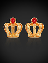 InStyle 18K Chunky Gold Plated Crow Stud Rhinestone Earrings High Quality