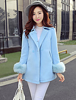 Women's Solid Blue / Pink Coat , Vintage Long Sleeve Others