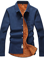 Men's Long Sleeve Shirt , Cotton Casual / Sport / Plus Sizes Pure Men with hair thickening long sleeve shirts Winter