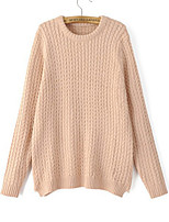 Women's Solid Pink / Almond Pullover , Casual Long Sleeve
