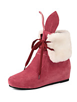 Women's Shoes Wedge Heel Snow Boots / Round Toe Boots Dress / Casual Black / Red / Animal Print