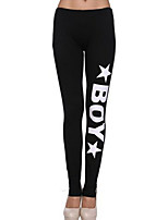 Women's Black Pants Boy Printed Cotton Gym Fitness Leggings Slim Thin Low Waist Sports Leggings