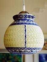 Retro Ceramic lamp lamp Entrance Stairs Blue Single Head Chandelier Creative G