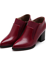 Women's Shoes Leatherette Chunky Heel Fashion Boots Boots Outdoor / Dress / Casual Yellow / Red / Beige