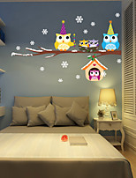 Wall Stickers Wall Decals Style Christmas Snowflake Owl PVC Wall Stickers