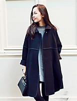 Women's Solid Black Coat , Casual Long Sleeve Tweed