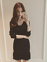 Women's Solid Red / Black / Brown Dress , Casual Long Sleeve