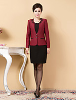Sheath/Column Mother of the Bride Dress - Burgundy / Fuchsia / Dark Navy Knee-length Long Sleeve Polyester