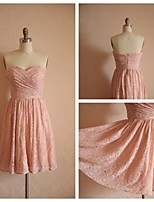 Knee-length Lace Bridesmaid Dress - Blushing Pink A-line Sweetheart