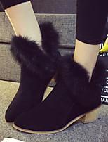 Chaussures Femme - Décontracté - Noir / Jaune - Gros Talon - Confort / Bout Pointu - Bottes - Tissu