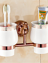 Neoclassical Rose Gold Finish Brass Material Toothbrush Holder