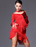 Latin Dance Outfits Women's Performance Spandex Crystals/Rhinestones / Sequins / Tassel(s) 4 Pieces