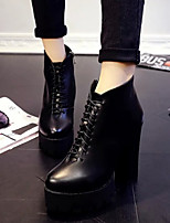 Women's Shoes All Match Chunky Heel Round Toe Lace Up Boots Casual Black