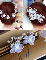 The New Han Edition Bride Hair White Gauze Flower U Small Forks 6PCS