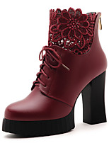 Women's Shoes Patent Leather Chunky Heel Heels / Round Toe Boots Outdoor / Casual Black / Red