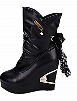 Women's Shoes Wedge Heel Wedges / Platform / Comfort / Combat Boots / Round Toe Boots Casual Black / White