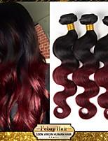 onda del cuerpo del pelo virginal mongol ombre extensiones de cabello 3 PC 300grams del pelo negro / vino tinto pelo ombre humano teje