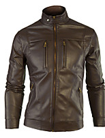 Men's Long Sleeve Jacket , Faux Leather Casual / Plus Sizes Pure