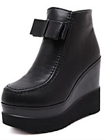 Women's Shoes Platform Round Toe Boots Casual Black / Animal Print