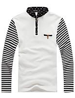 Herren Freizeit / Sport T-Shirt  -  Gestreift Lang Baumwolle