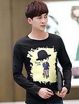 Men's Long Sleeve T-Shirt , Cotton / Cotton Blend / Lycra Casual / Work Print