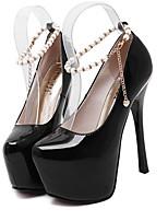 Women's Shoes Patent Leather Stiletto Heel Round Toe Heels Dress Black/Red