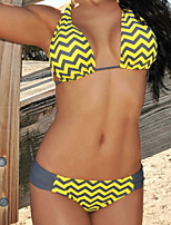 Mulheres Biquíni Cores Contraste / Geométrico Nadador Push-Up / Sem Aro Nylon / Elastano Mulheres
