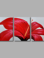 Hand-Painted Oil Painting on Canvas Wall Art Modern Flowers Red Roses White Three Panel Ready to Hang
