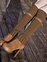 Chaussures Femme - Habillé / Décontracté - Noir / Marron - Talon Aiguille - Bout Arrondi / Bout Fermé - Bottes - Daim