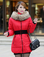 Women's Solid Red / Black / Orange / Yellow / Beige Parka Coat , Casual Stand Long Sleeve
