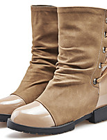 Women's Shoes Leatherette Low Heel Fashion Boots Flats / Boots Outdoor / Casual Black / Brown / Red