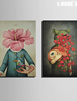 E-HOME® Stretched Canvas Art Abstract Human Form Decoration Painting  Set of 2