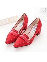 Women's Shoes Suede Chunky Heel Heels Heels Casual Black / Red / Gray