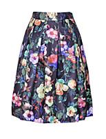 Women's Spring Fashion Printing Slim Elastic Waist Knee-length Luxury Vintage Skirts