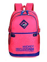 Women Nylon Baguette Backpack - Pink / Blue / Black