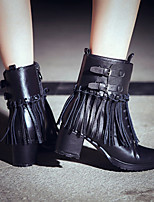 Women's Shoes Leather Chunky Heel Riding Boots / Fashion Boots Boots Outdoor / Office & Career/ Dress / Casual Black