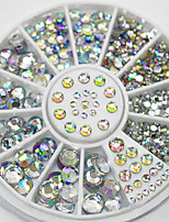 1 Wheel 5 Sizes White Multicolor Acrylic Nail Art Decoration Glitter Rhinestones