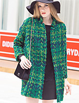 Women's Polka Dot Red / Black / Green Coat , Casual Long Sleeve Tweed