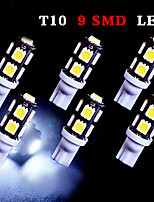6 PCS White T10 9-SMD 5050 LED LICENSE PLATE Light bulb W5W 2825 194 192 168 12V
