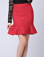 Women's Solid Red / Black Skirts , Work Above Knee