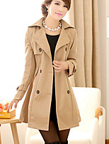 Women's Solid Black / Yellow / Beige Trench Coat , Casual Long Sleeve Polyester