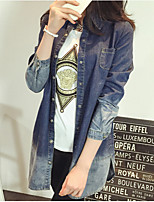 Women's Solid Blue Denim Coat , Casual