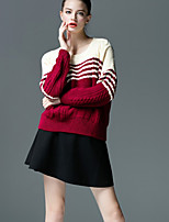 Women's Color Block Blue / Red / Green Set , Casual Long Sleeve