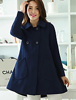 Women's Solid Blue / Red / Yellow Coat , Casual Long Sleeve Polyester